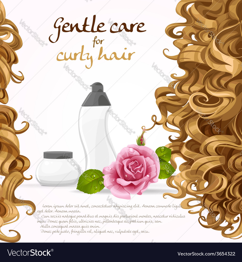 Curled hair care background vector | Price: 3 Credit (USD $3)