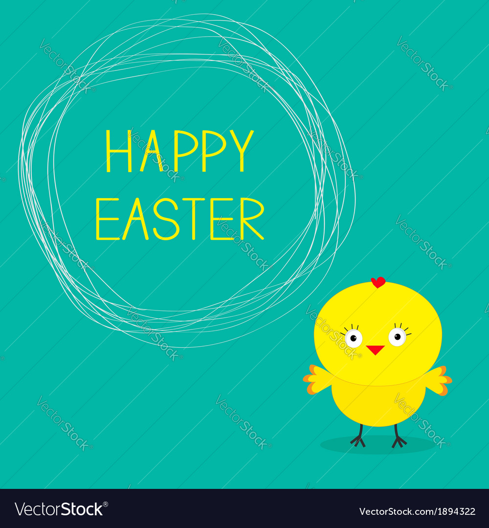 Easter chicken and scribble speech bubble card vector | Price: 1 Credit (USD $1)
