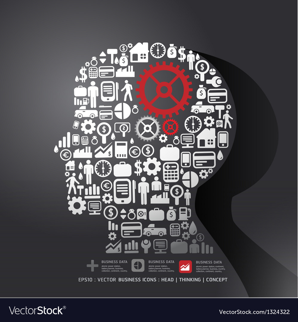 Elements are small icons finance make in man think vector | Price: 1 Credit (USD $1)