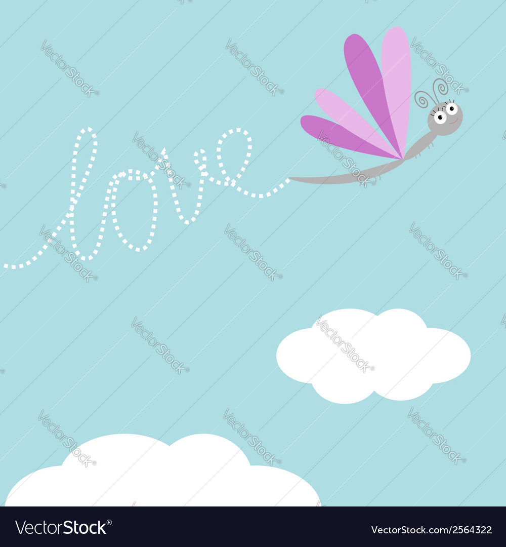 Flying dragonfly insect dash word love in the sky vector | Price: 1 Credit (USD $1)