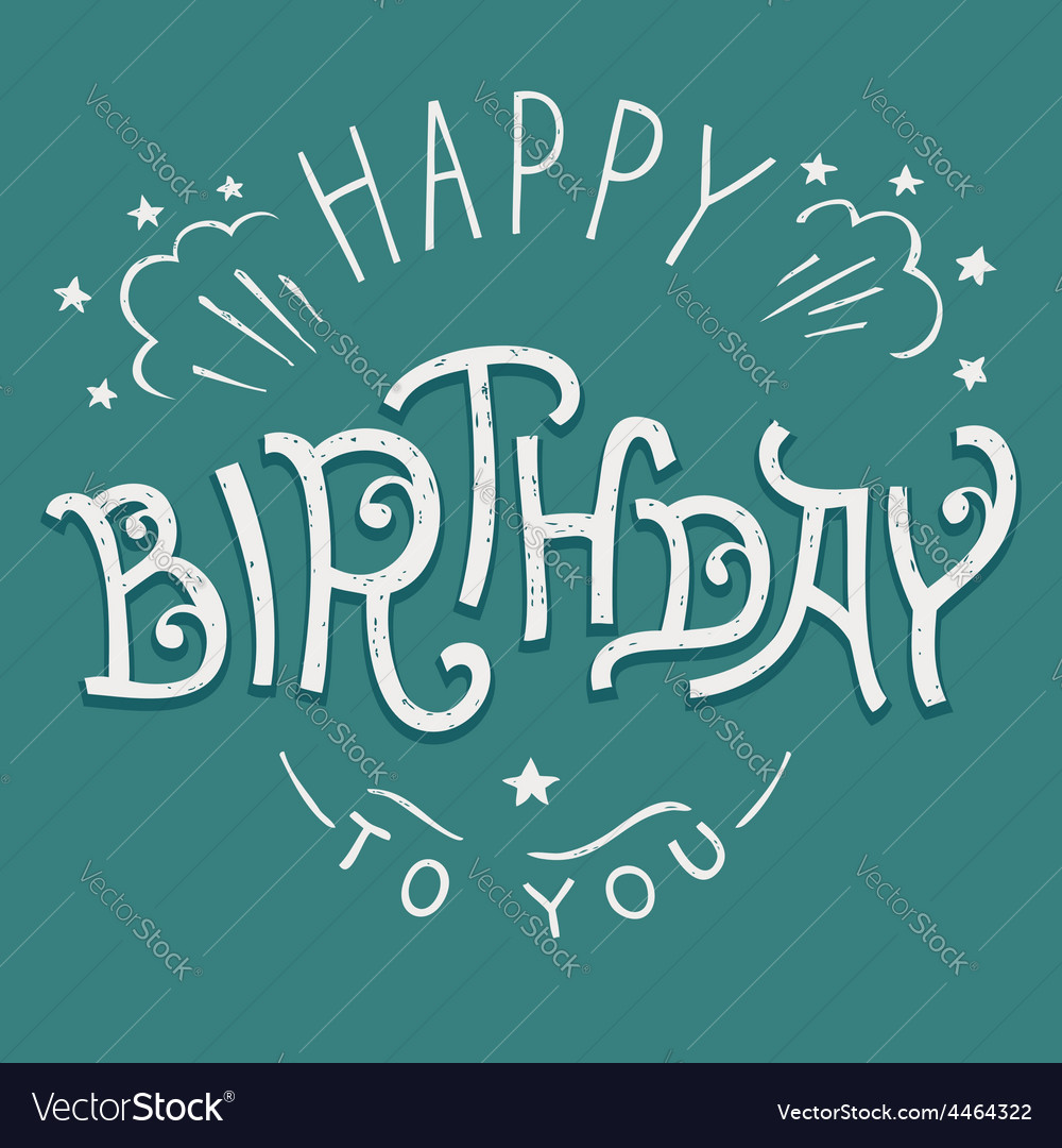 Happy birthday to you hand-lettering vector | Price: 1 Credit (USD $1)