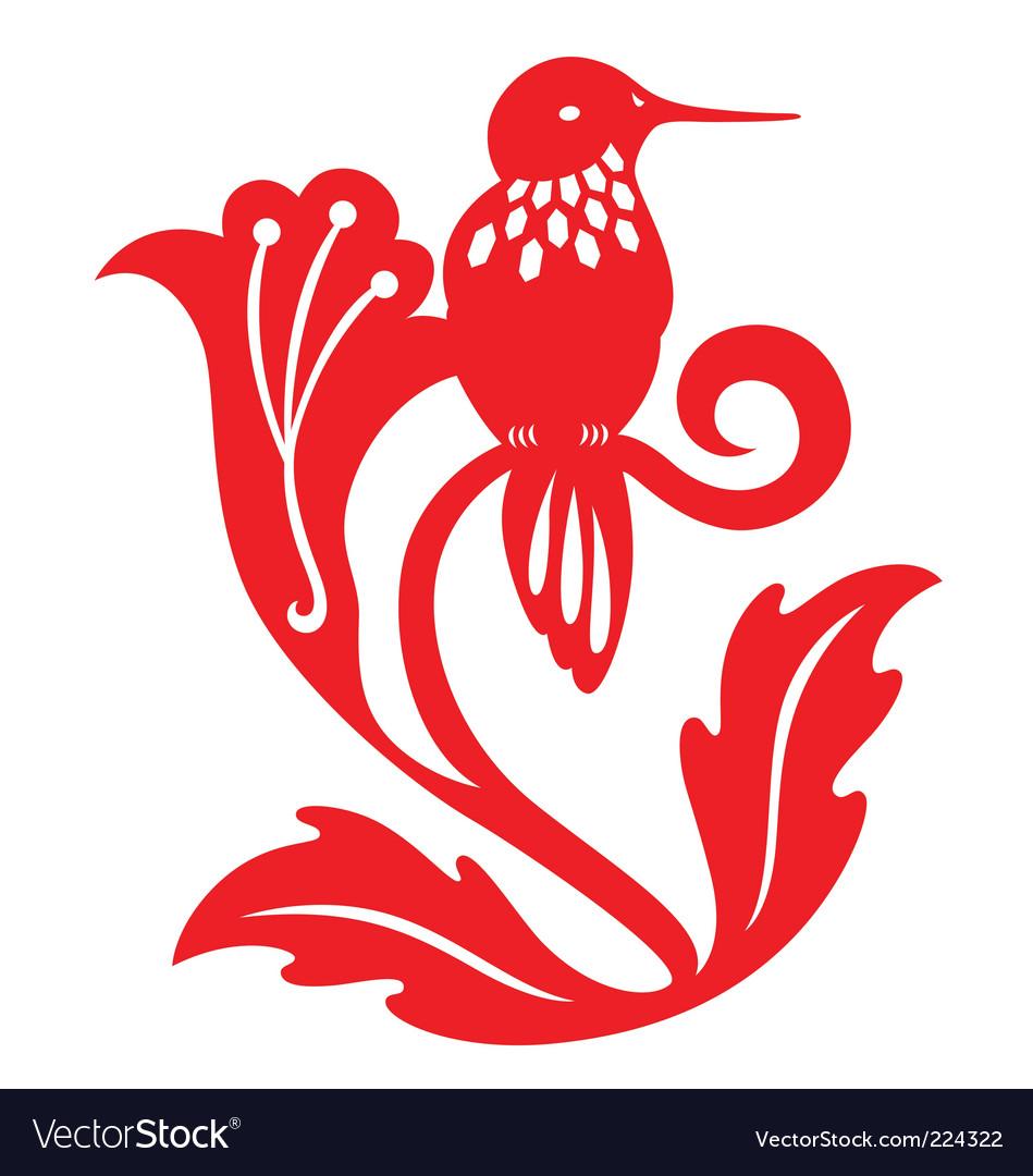 Paper cut humming bird vector | Price: 1 Credit (USD $1)