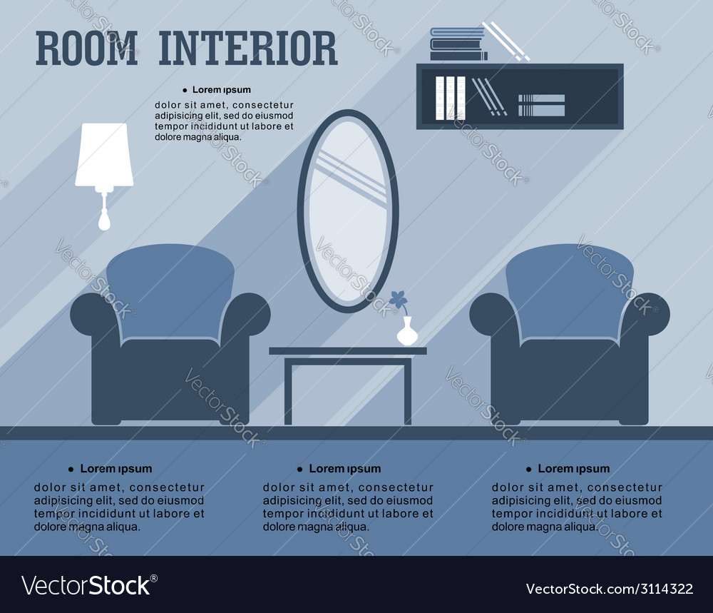 Room interior infographic template vector | Price: 1 Credit (USD $1)