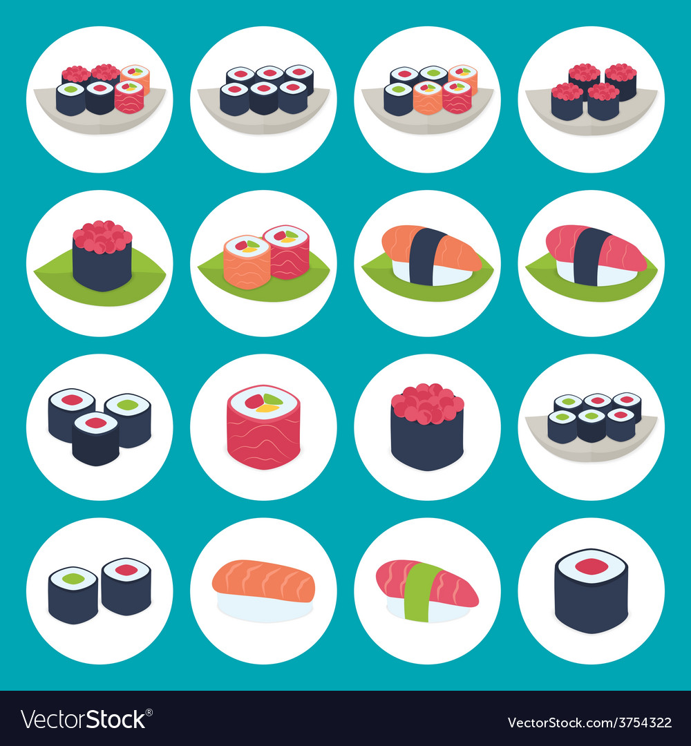 Sushi circular icon set over blue vector | Price: 1 Credit (USD $1)