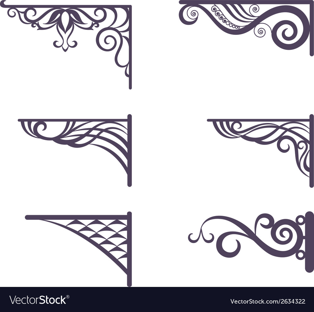 Vintage brackets for signboard silhouettes vector | Price: 1 Credit (USD $1)