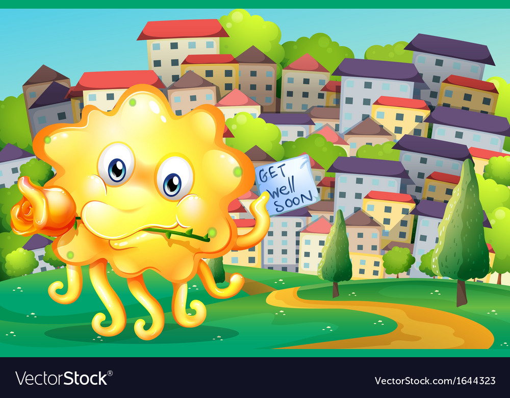 A thoughtful monster at the top of the hill across vector | Price: 3 Credit (USD $3)