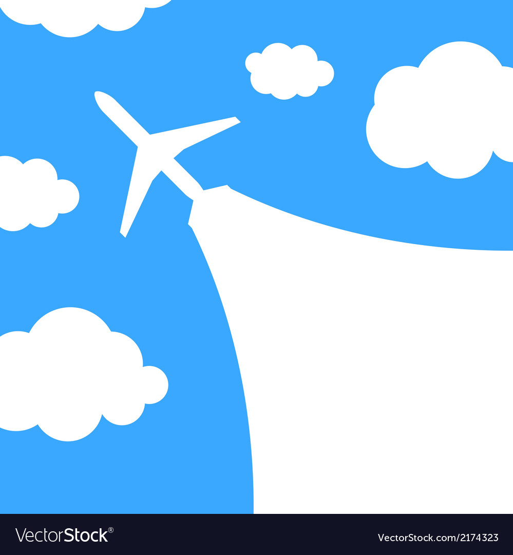 Abstract background with airplane and clouds vector | Price: 1 Credit (USD $1)