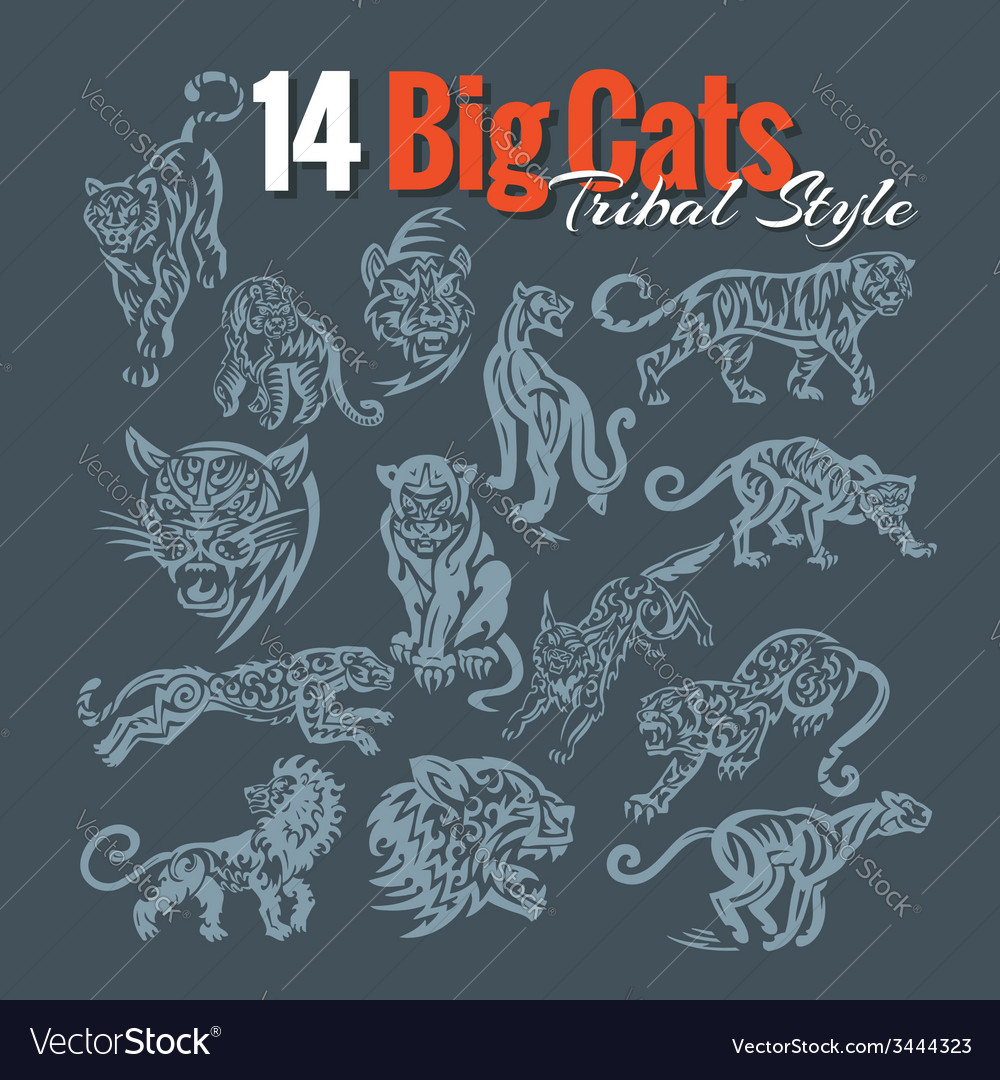 Big cats in tribal style set vector | Price: 1 Credit (USD $1)