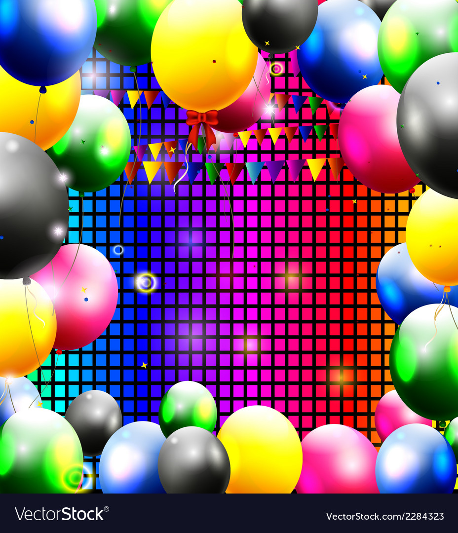 Birthday background with balloon vector | Price: 1 Credit (USD $1)