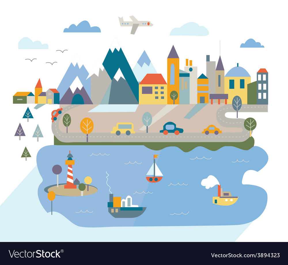 Cartoon flat city with river and mountains vector
