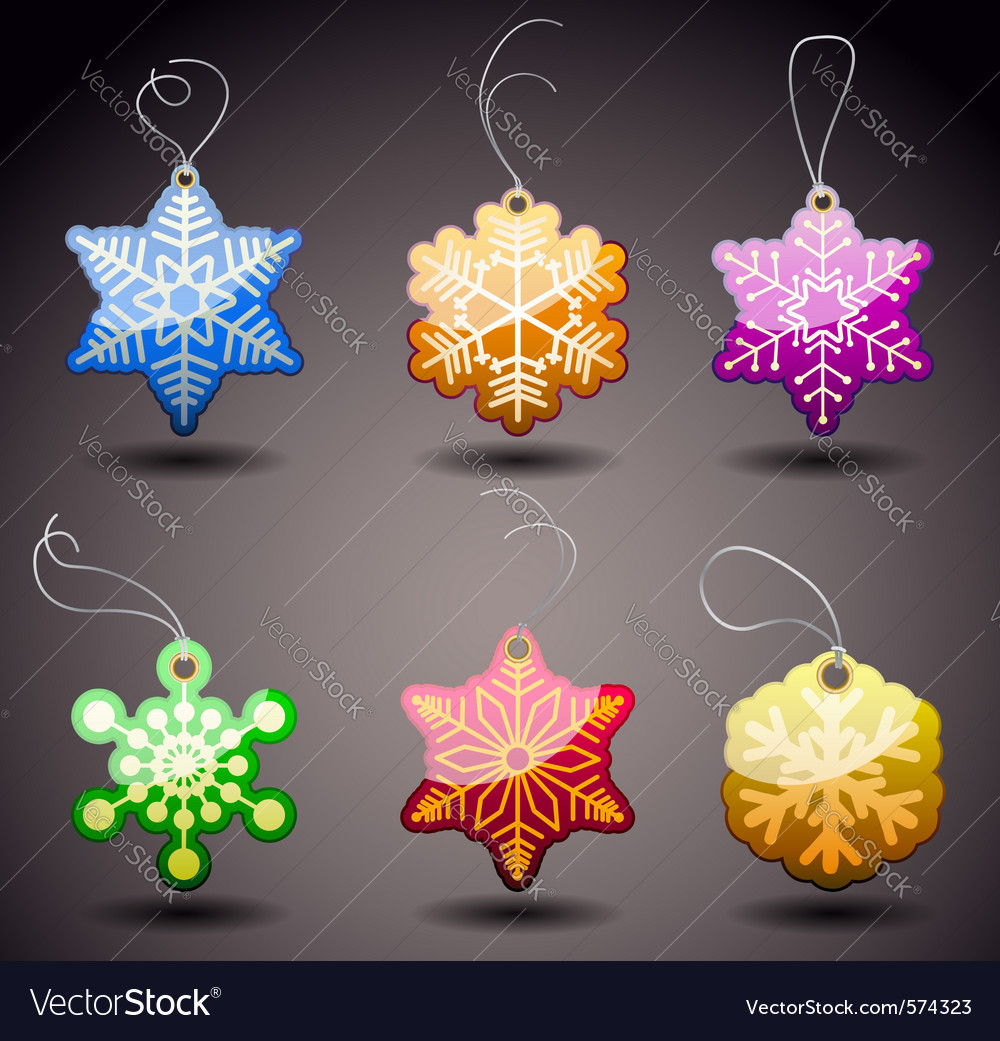 Christmas glossy tags  snowflakes vector | Price: 1 Credit (USD $1)