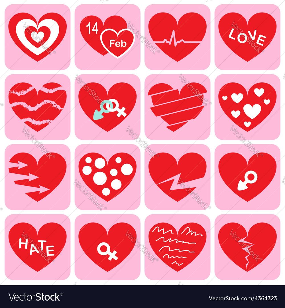 Collection of heart icon vector | Price: 1 Credit (USD $1)
