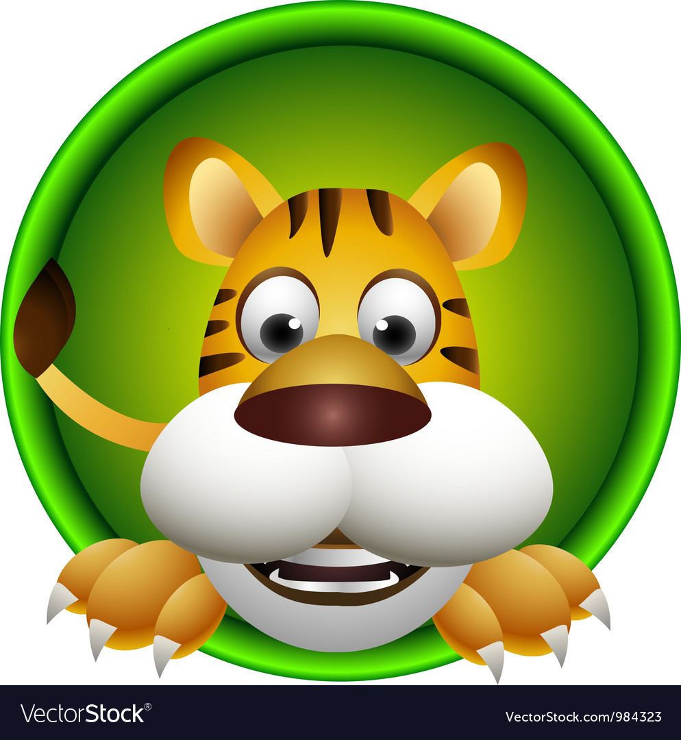 Cute tiger head cartoon vector | Price: 1 Credit (USD $1)