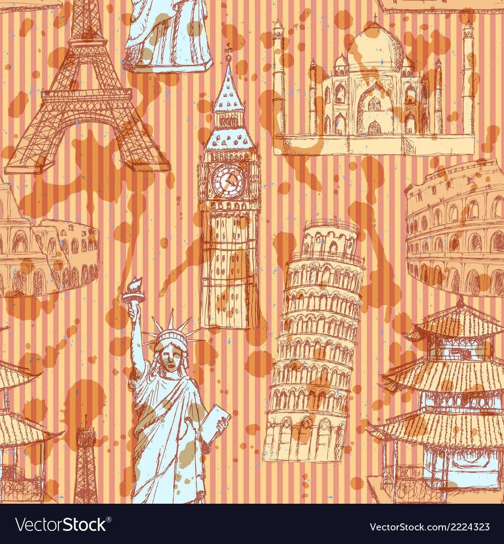 Europe travel pattern vector | Price: 1 Credit (USD $1)