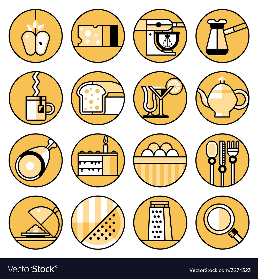 Food icons flat line set vector | Price: 1 Credit (USD $1)
