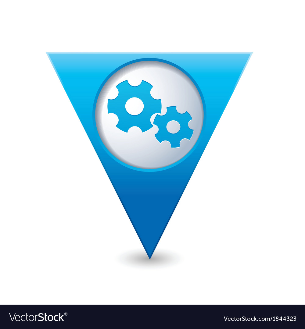 Gear icon map pointer blue vector | Price: 1 Credit (USD $1)