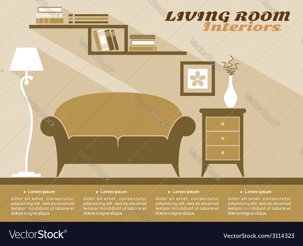 Living room interior flat style vector | Price: 1 Credit (USD $1)