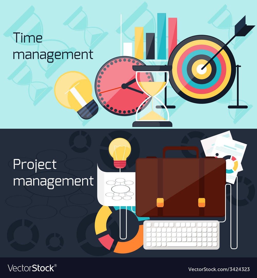Project and time management flat design concept vector | Price: 1 Credit (USD $1)