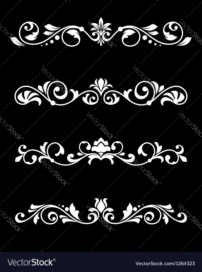 Retro borders and dividers in floral style vector | Price: 1 Credit (USD $1)