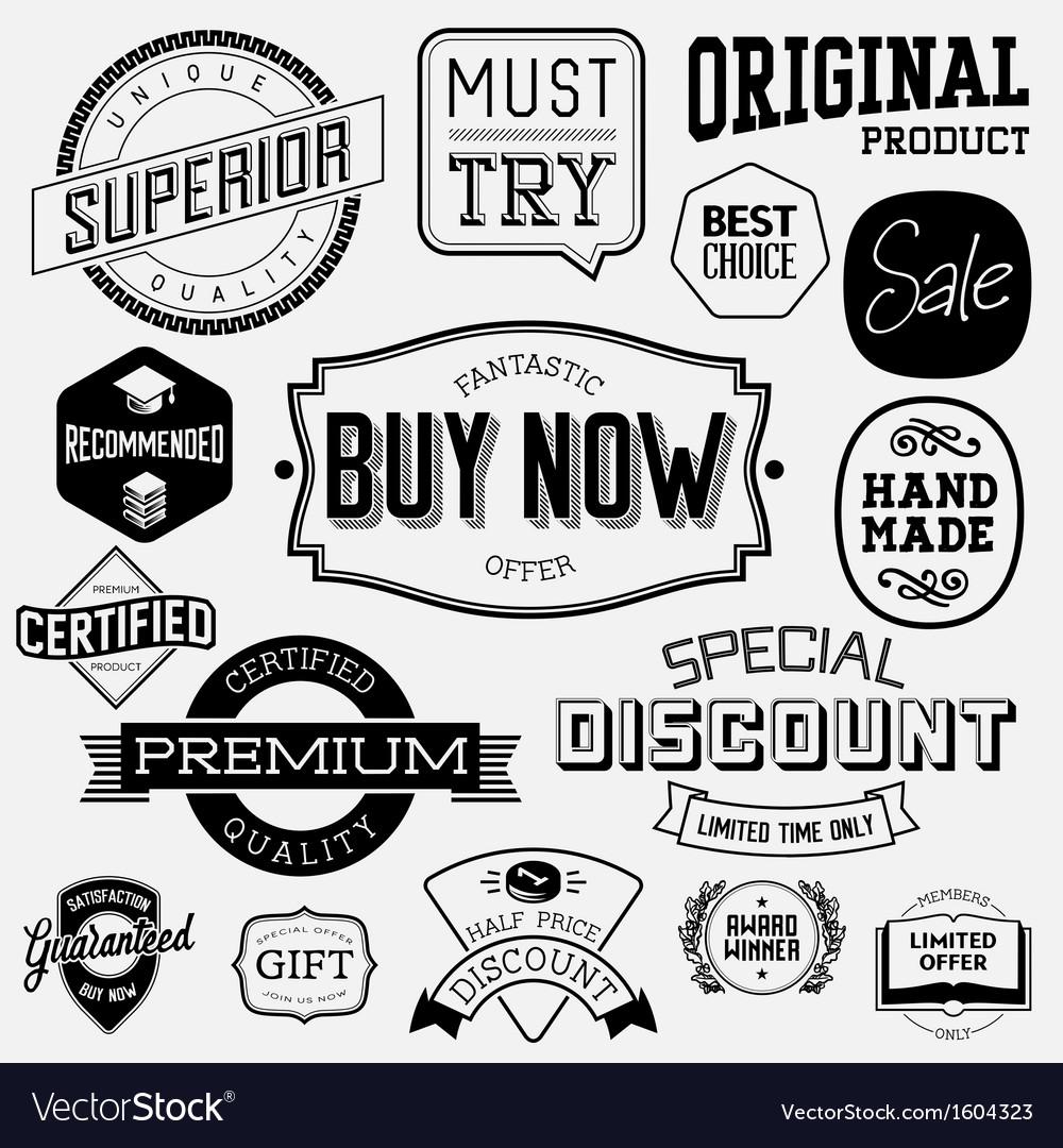 Set of vintage bagdes labels and stamps vector   Price: 1 Credit (USD $1)
