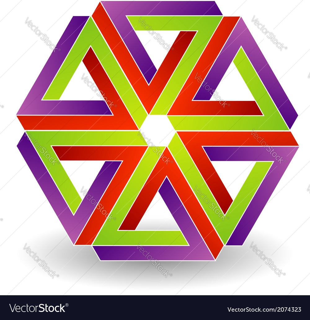 Six penrose triangles shaped like star vector | Price: 1 Credit (USD $1)