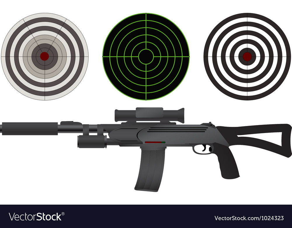 Sniper rifle and targets vector | Price: 1 Credit (USD $1)