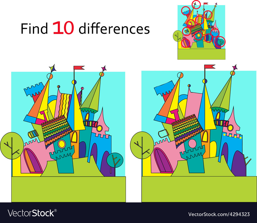 Spot the differences two images with ten changes vector | Price: 1 Credit (USD $1)