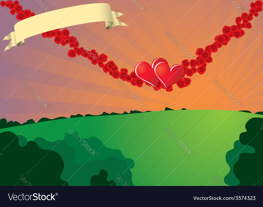 Swinging hearts on rose strings vector | Price: 1 Credit (USD $1)