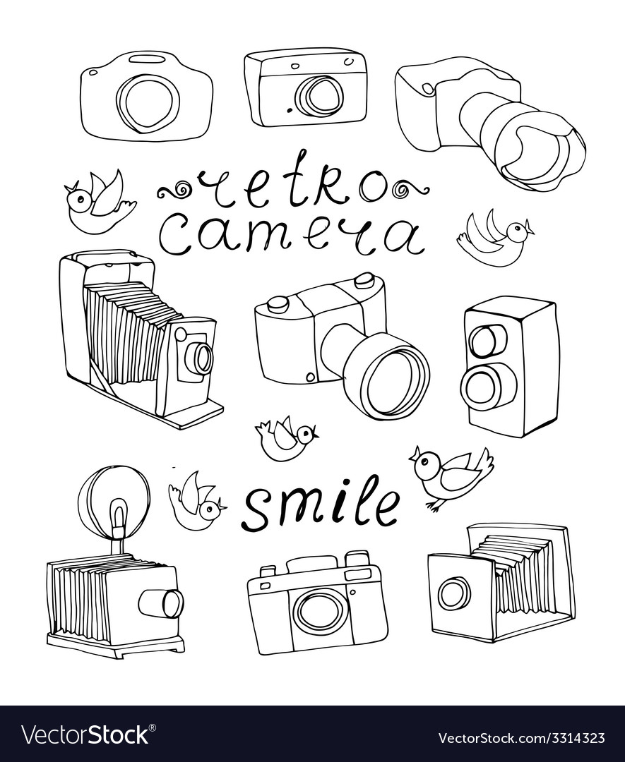 Vintage camera set vector | Price: 1 Credit (USD $1)