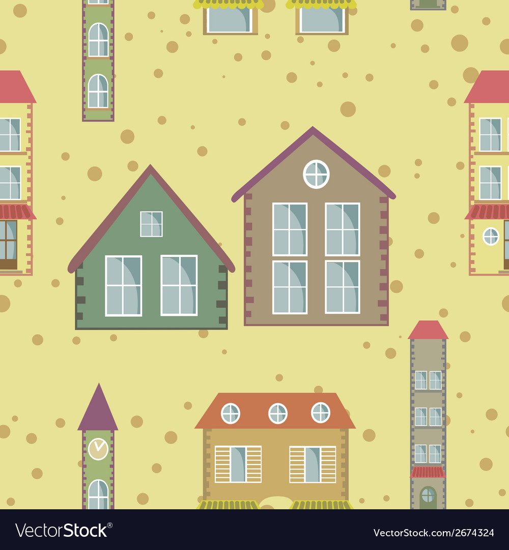 A colorful city seamless pattern vector | Price: 1 Credit (USD $1)