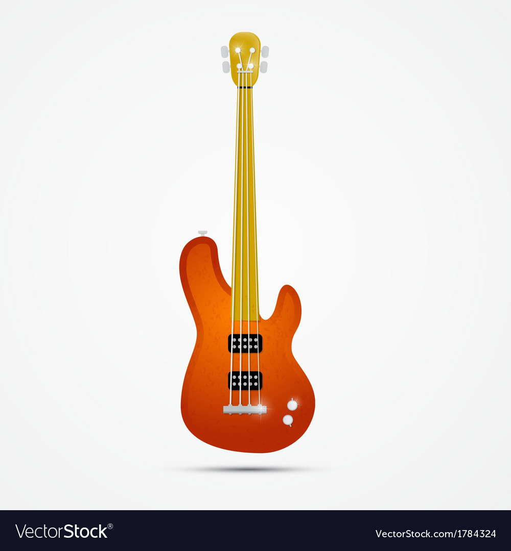 Abstract orange bass guitar isolated on grey vector | Price: 1 Credit (USD $1)