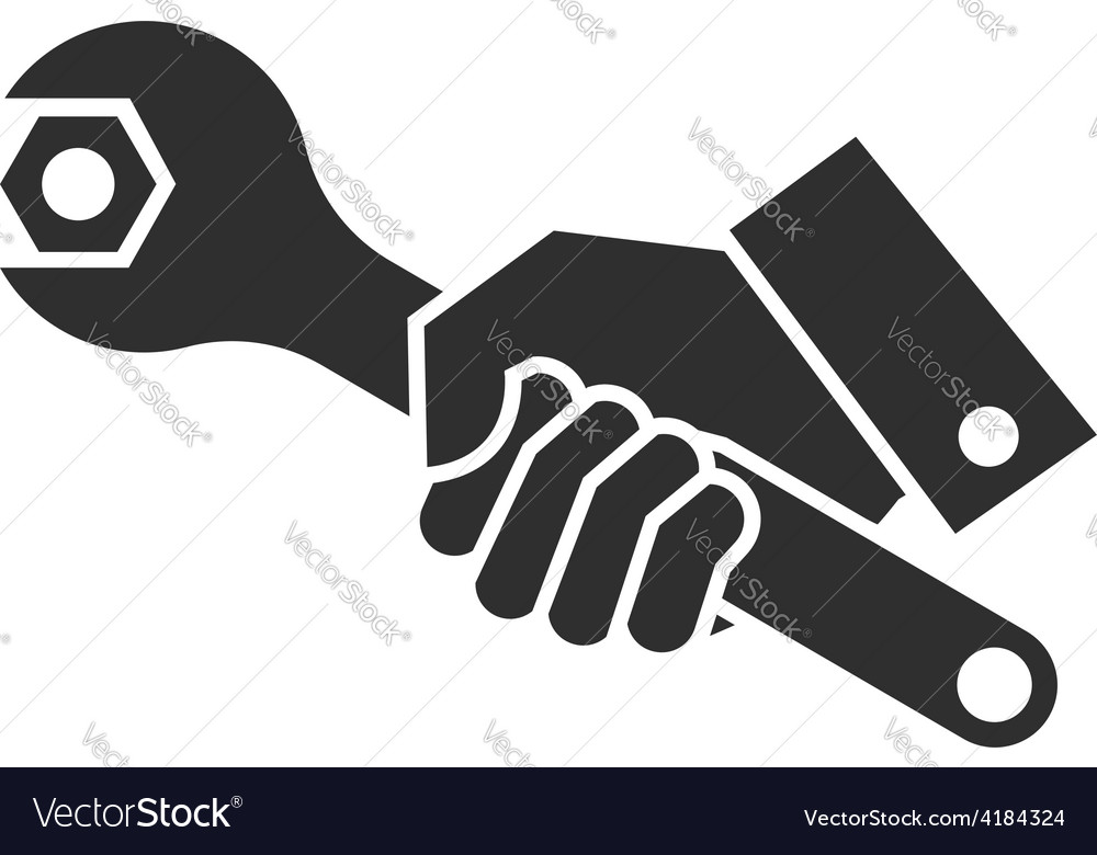 Black of hand holding wrench vector | Price: 1 Credit (USD $1)