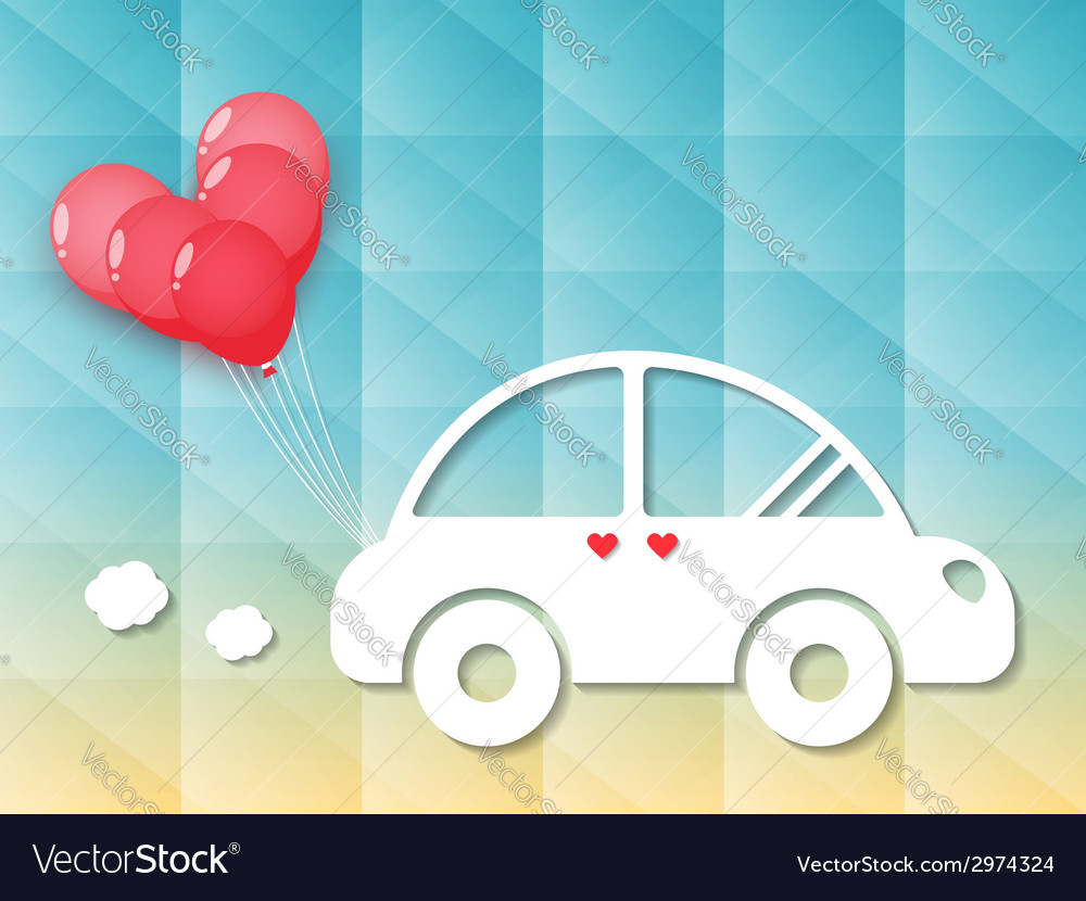 Car with red heart balloons vector | Price: 1 Credit (USD $1)