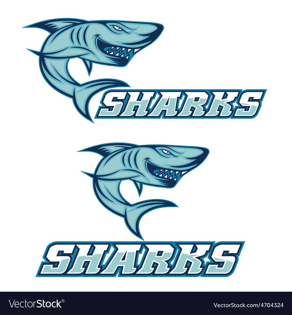 Cartoon aggressive shark for sport team vector | Price: 1 Credit (USD $1)
