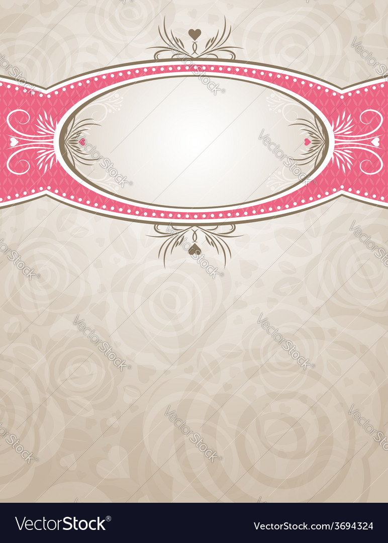 Circle label over beige background of roses vector | Price: 1 Credit (USD $1)