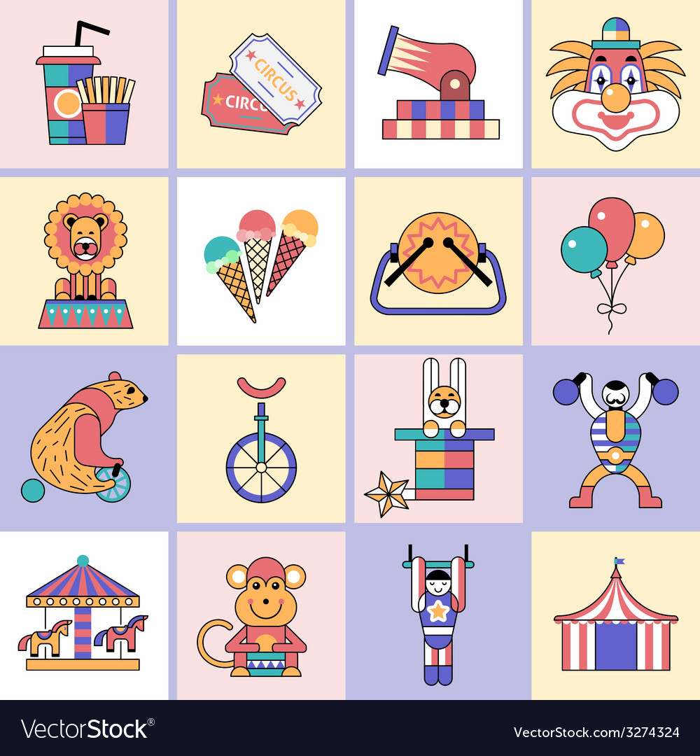 Circus icons set flat line vector   Price: 1 Credit (USD $1)