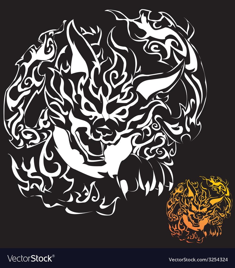 Fox devil tattoo vector | Price: 1 Credit (USD $1)
