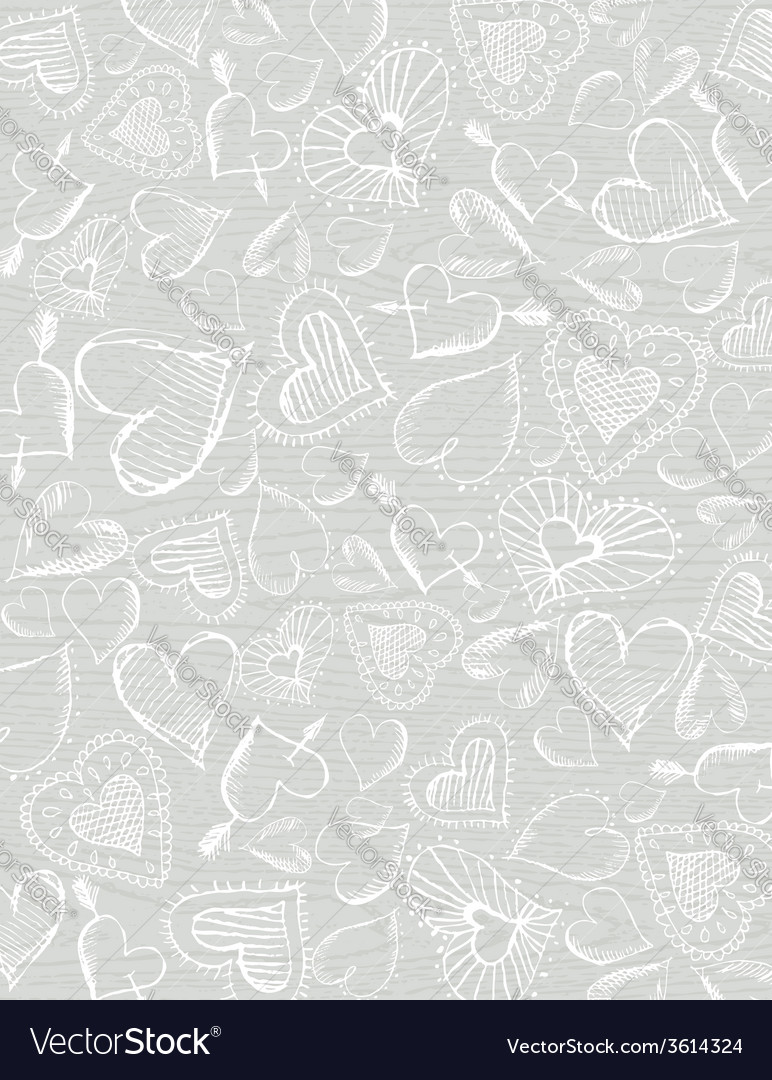 Grey wooden background with hand draw hearts vector | Price: 1 Credit (USD $1)