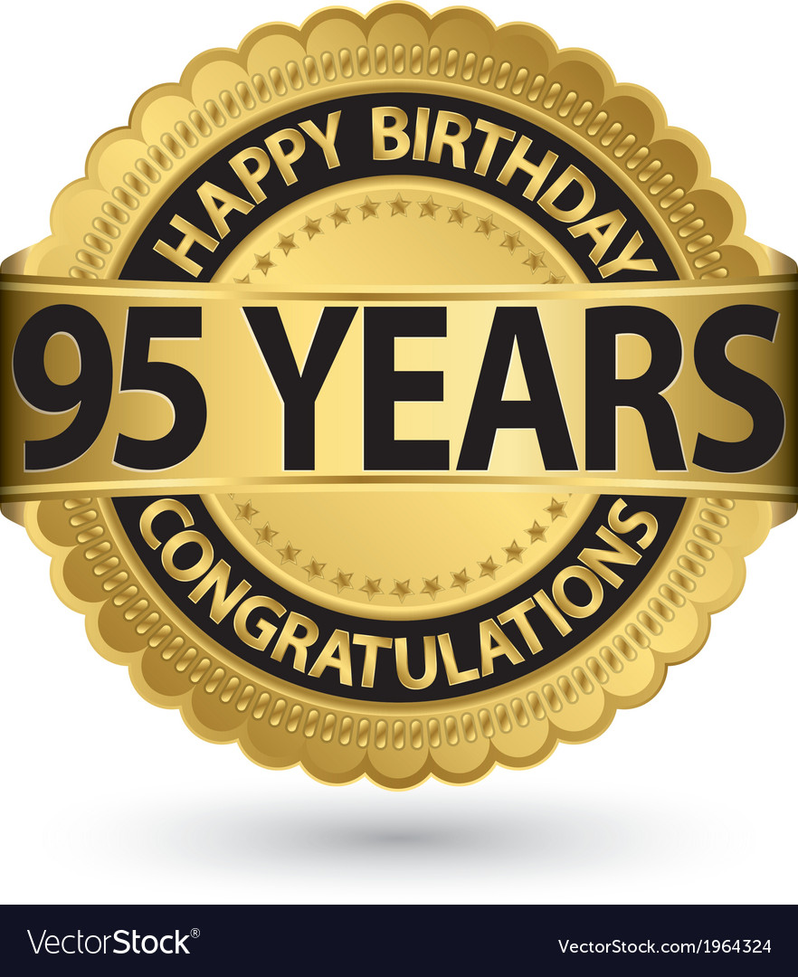 Happy birthday 95 years gold label vector | Price: 1 Credit (USD $1)