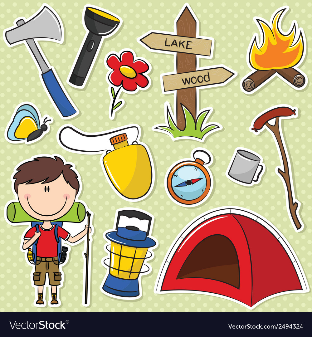 Hiker boy vector | Price: 1 Credit (USD $1)