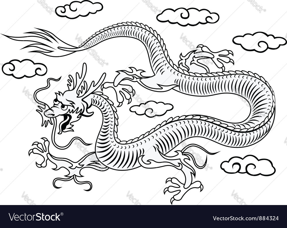 Oriental dragon in clouds vector | Price: 1 Credit (USD $1)