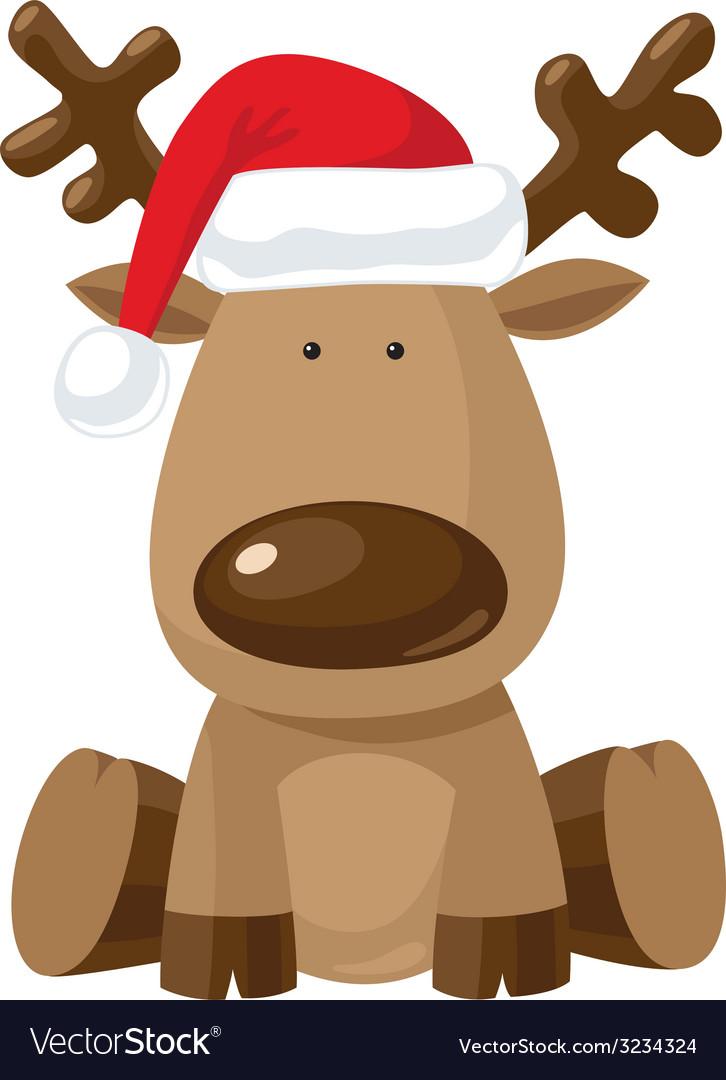 Reindeer in christmas hat vector | Price: 1 Credit (USD $1)