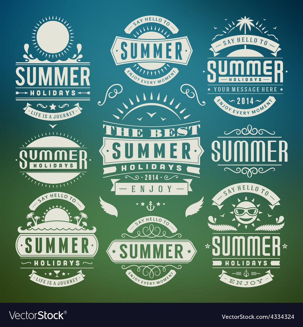 Retro summer design elements vector | Price: 1 Credit (USD $1)