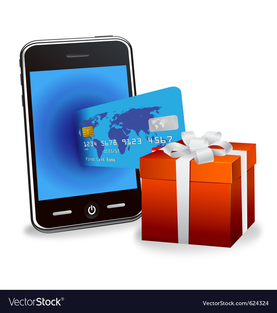 Smart phone with credit card vector | Price: 1 Credit (USD $1)