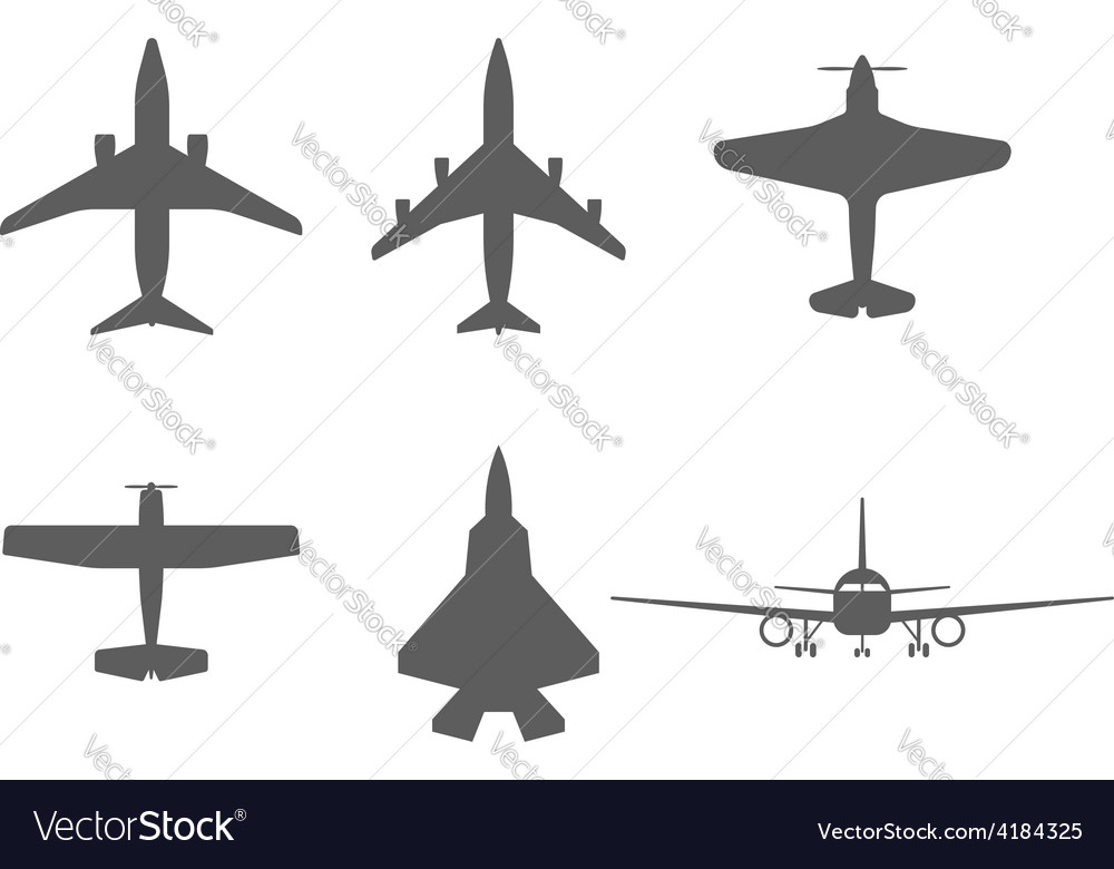 Airplane icons passenger plane fighter plane and vector | Price: 1 Credit (USD $1)