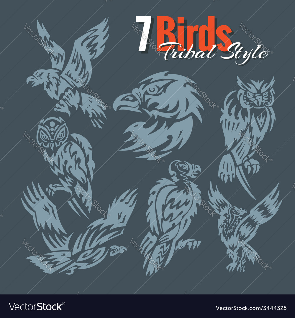 Birds in tribal style set vector | Price: 1 Credit (USD $1)