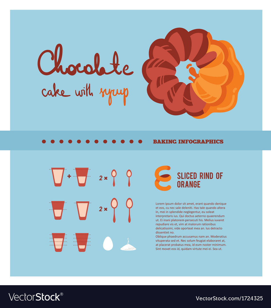 Chocolate cake cooking inforgaphics vector | Price: 1 Credit (USD $1)