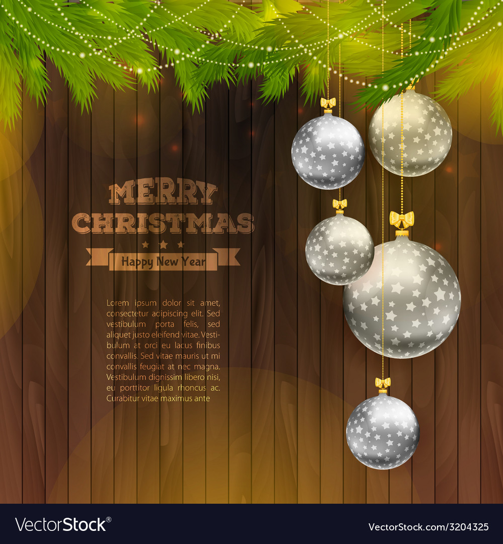 Christmas balls on wooden background vector | Price: 1 Credit (USD $1)