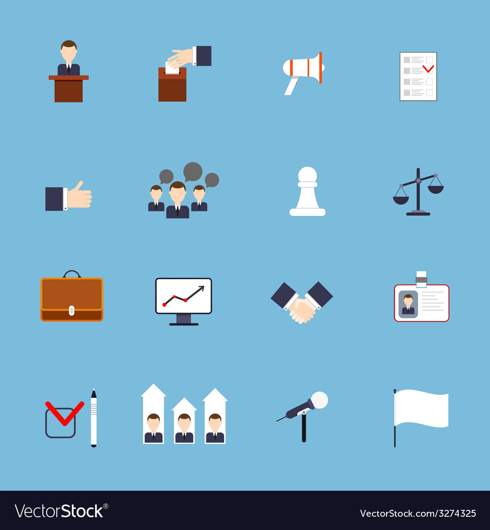 Elections icons set flat vector   Price: 1 Credit (USD $1)