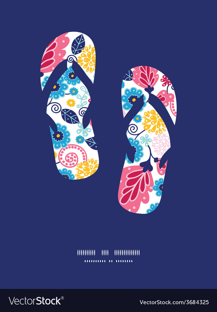 Fairytale flowers flip flops silhouettes pattern vector | Price: 1 Credit (USD $1)